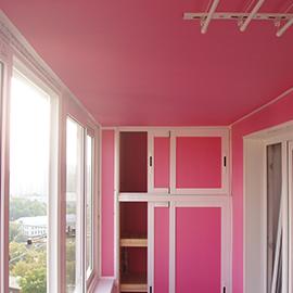 отделка балкона со шкафом и сушилкой